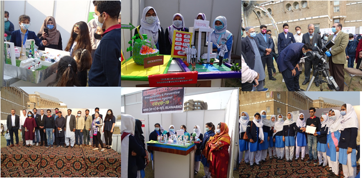 The students of government schools from Islamabad showcasing their talent through scientific models/exhibits during 2nd Islamabad Science Festival held (Feb. 13, 2021)