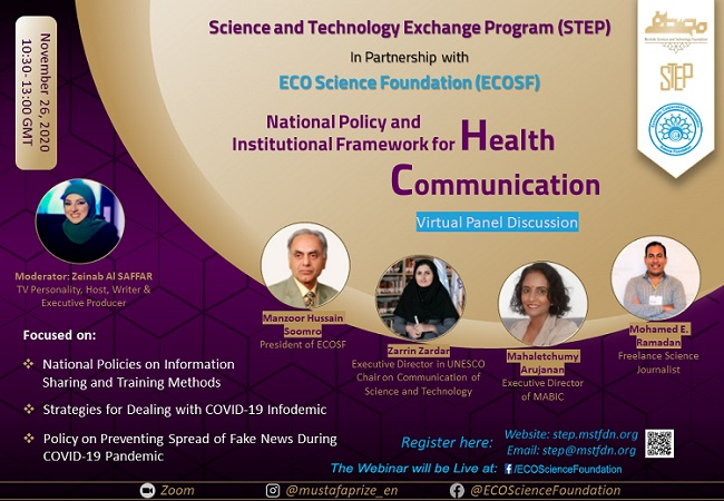 ECOSF in collaboration with Mustafa Science and Technology Foundation hosted a National Policy Dialogue on Health and Science Communication (Nov. 26, 2020)
