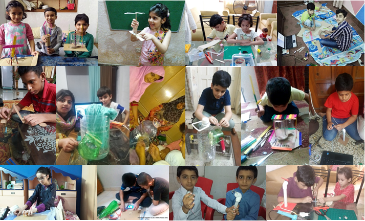 Kids showing their scientific talent and enthusiasm through participating in Online Family STEM Camp organized by PSC and ECOSF (May-June 2020)